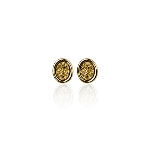 Par de Brinco Oval Dourado Pedra Drusa Semi Joias | Linha Sabrina Joias