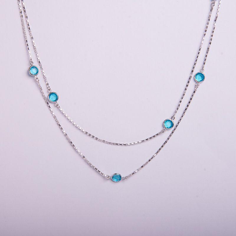 Semi joias Colar em ródio e cristal azul