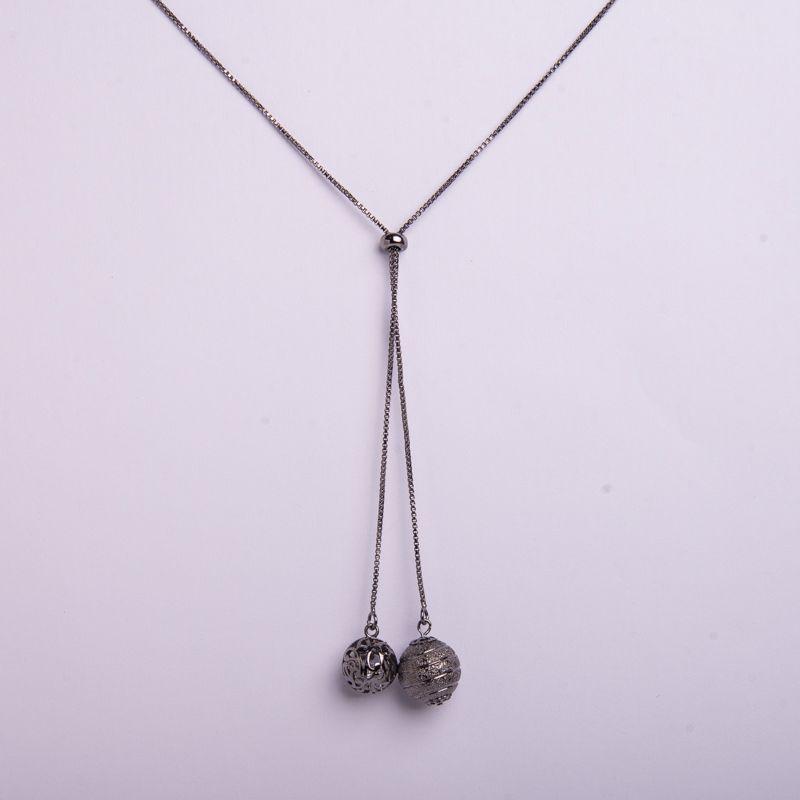 Semi joias Colar longo em ródio negro
