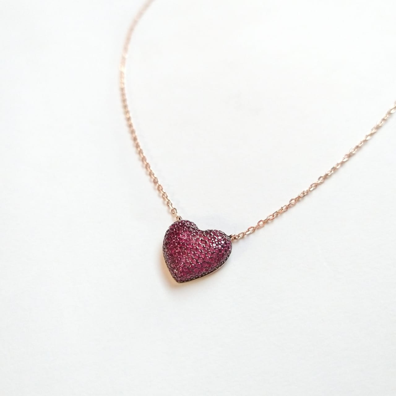 Colar Prata 925 Com Banho de Ouro Rose Com Coração em Zircônia Rosa