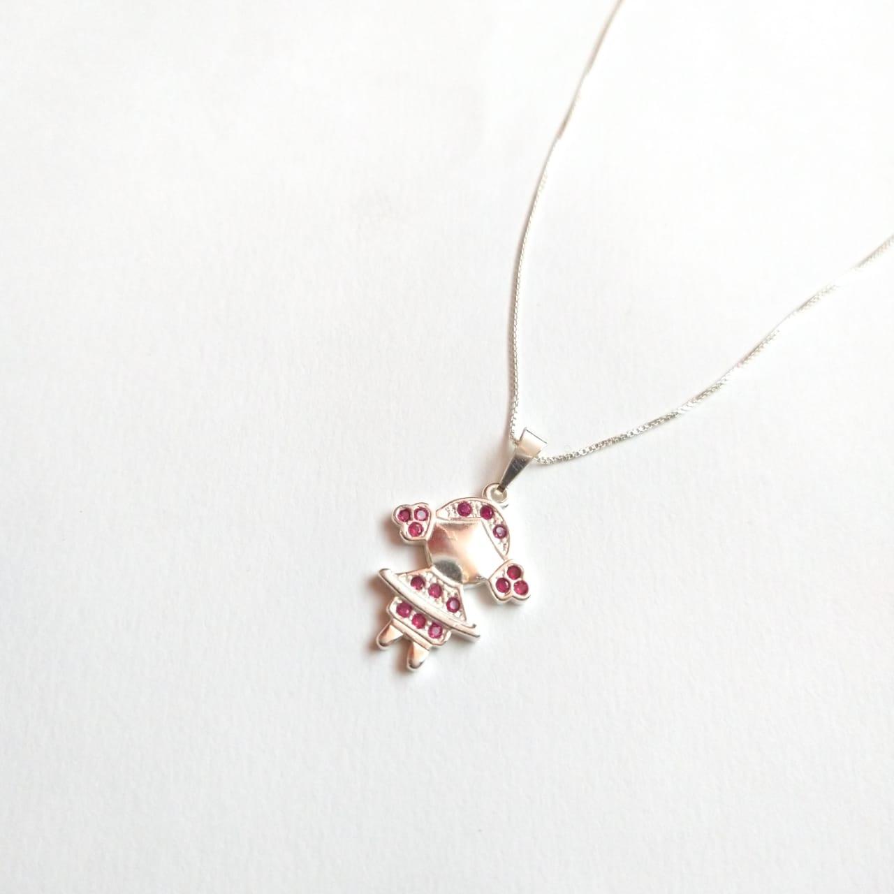 Colar Prata 925 Menina Zircônia Rosa