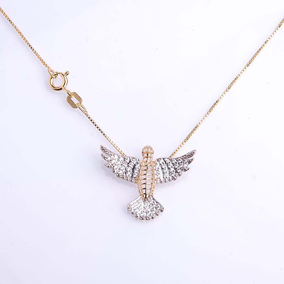 Semi joia Colar prata com banho em ouro Espírito Santo cravejado de zircônia