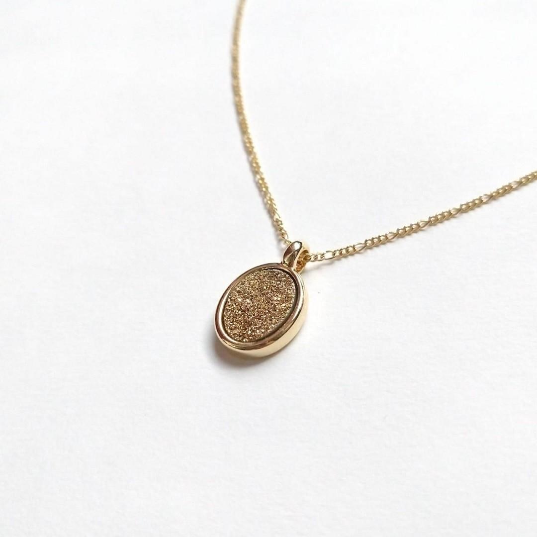 Colar Semi jóia com Drusa Dourada