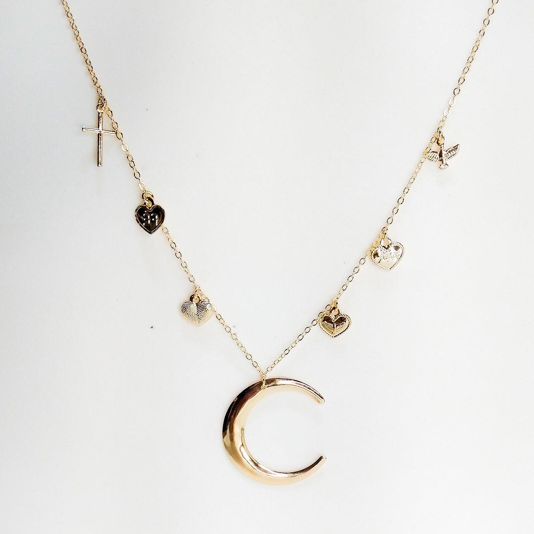 Colar Semi Joia Meia Lua Proteção Dourado