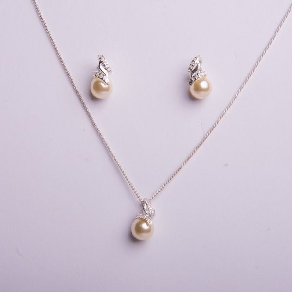 Semi joias Conjunto prata brinco + colar pérolas e zircônia