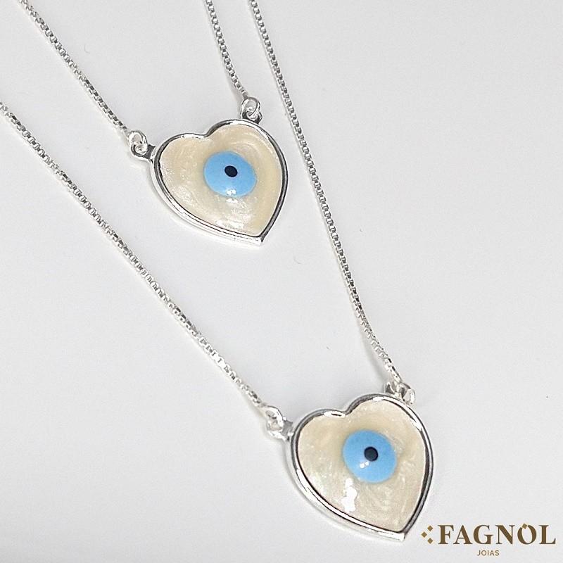 Escapulário Prata 925 Olho Grego Coração