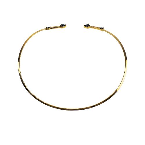 Colar Chocker Dourada Com Zircônia Preta Semi Joias | Linha Sabrina Joias