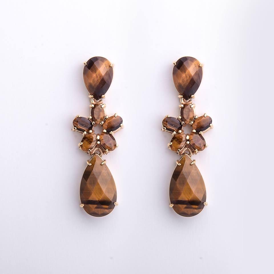 Semi joias brinco dourado com pedra natural olho de tigre