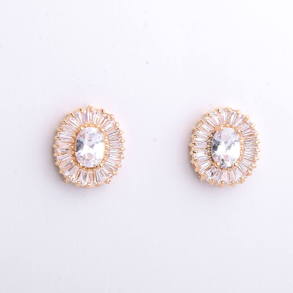 Semi joias brinco dourado com zircônias