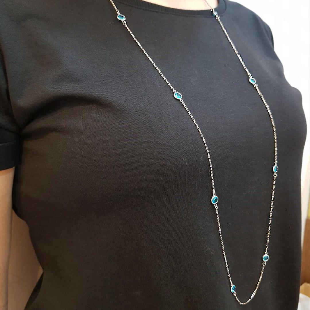 Semi Jóia Colar em prata e cristal azul