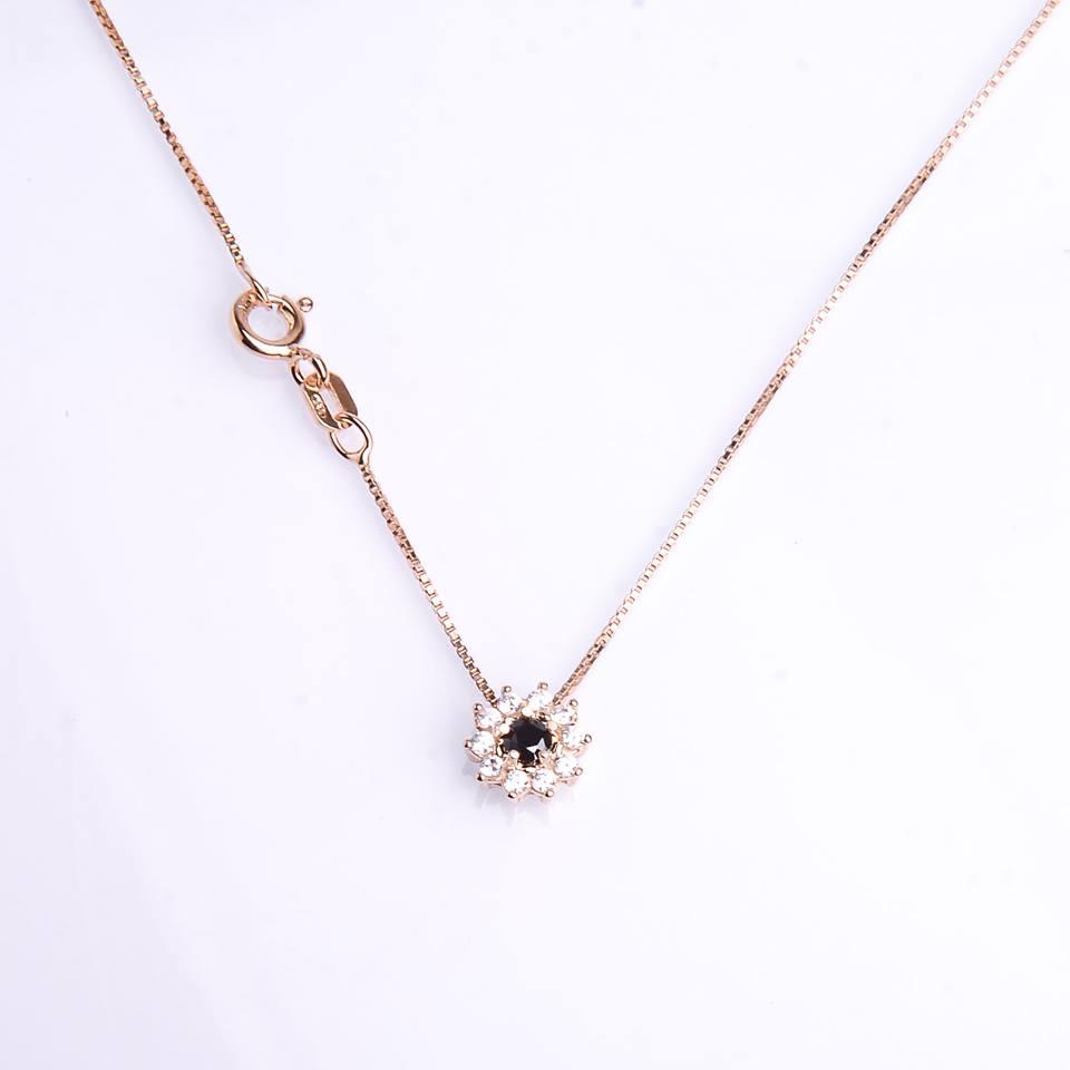 semi jóia colar prata com banho em ouro pingente cravejado de zircônia