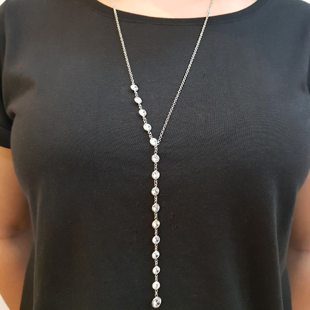 Semi joias colar ródio estilo gravatinha com ponteira de zircônias