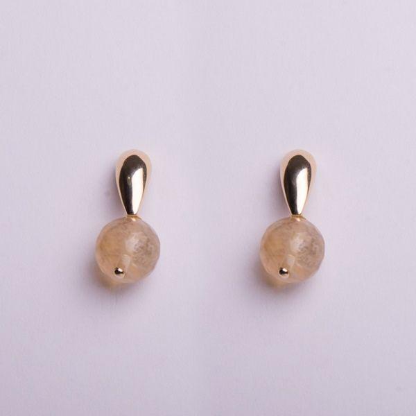 Semi joias par de Brinco quartzo rútilado