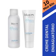 BLUE M - 10 X Mini Kit (Creme dental 15 ml + Enxaguatório 50 ml)
