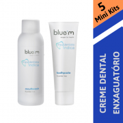 BLUE M - 5 Mini Kits (Creme dental 15 ml + Enxaguatório 50 ml)
