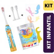 Escova Elétrica Infantil Girafa + 2 Refil + Fio Dental Com Cabo