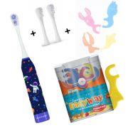 Kit Escova Infantil Astronauta + Refil + Fio Dental Com cabo