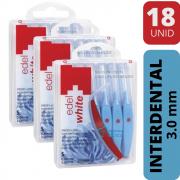KIT Escova Interdental Azul   3.0mm   18 unidades   Edel White