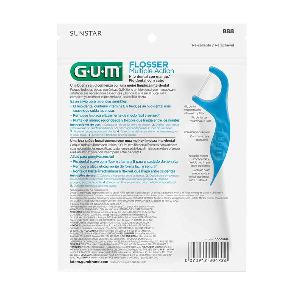 Flosser Multiple Action Azul  GUM® Fio Dental Adulto com Cabo   200 unidades