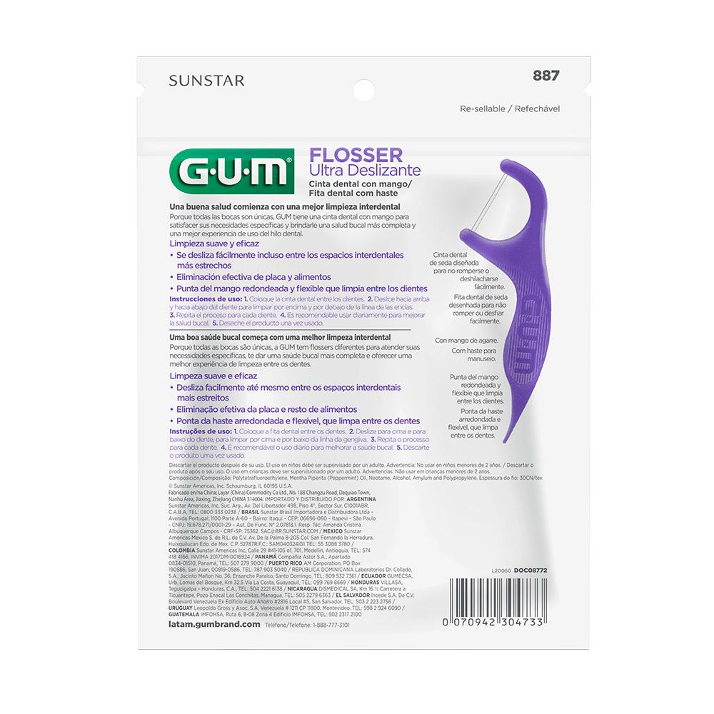 Flosser Ultra Deslizante Roxo |GUM®|Fio Dental Adulto com Cabo | 200 unidades
