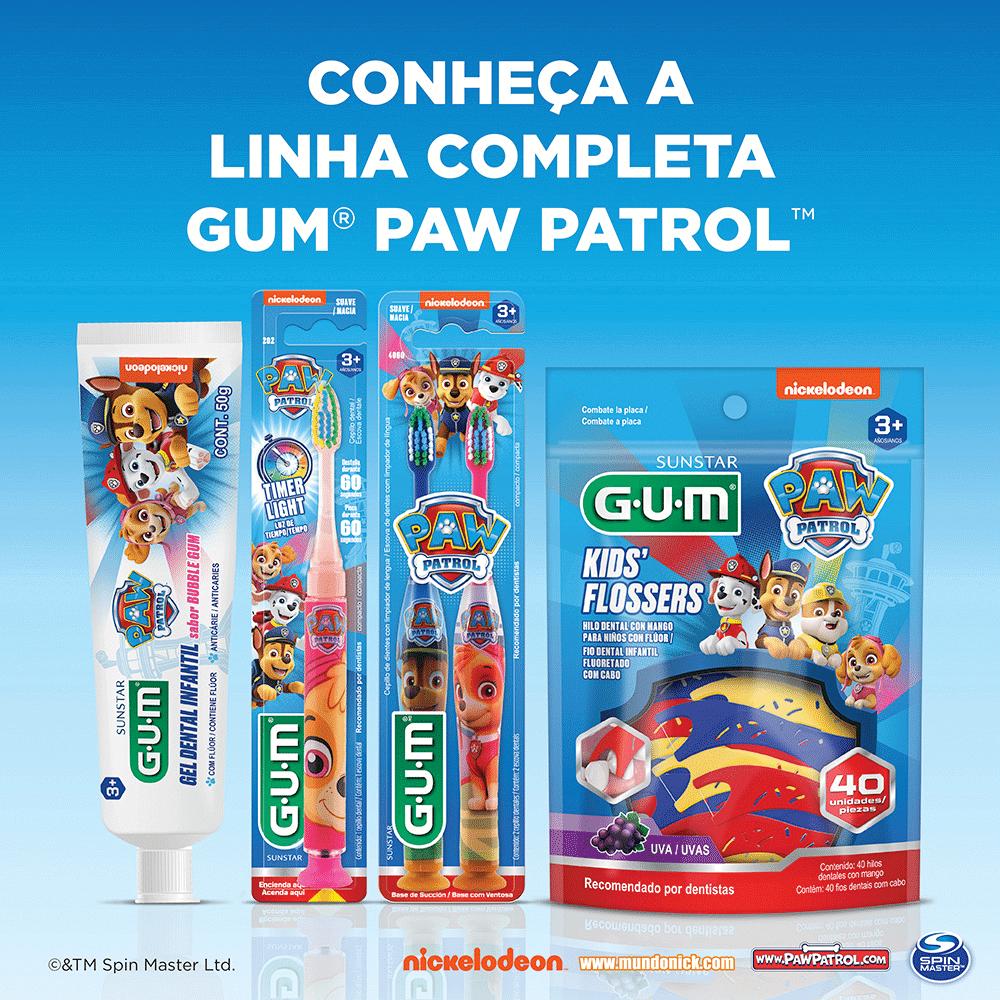 Flossers Patrulha Canina | GUM®|Fio Dental Infantil com Cabo | 160 unidades