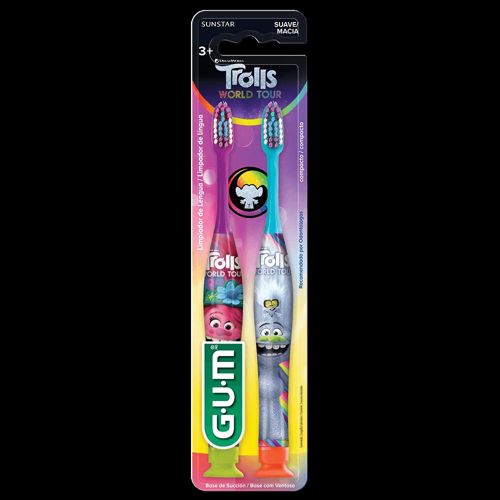Escova Dental Infantil TROLLS | GUM | 2 unidades