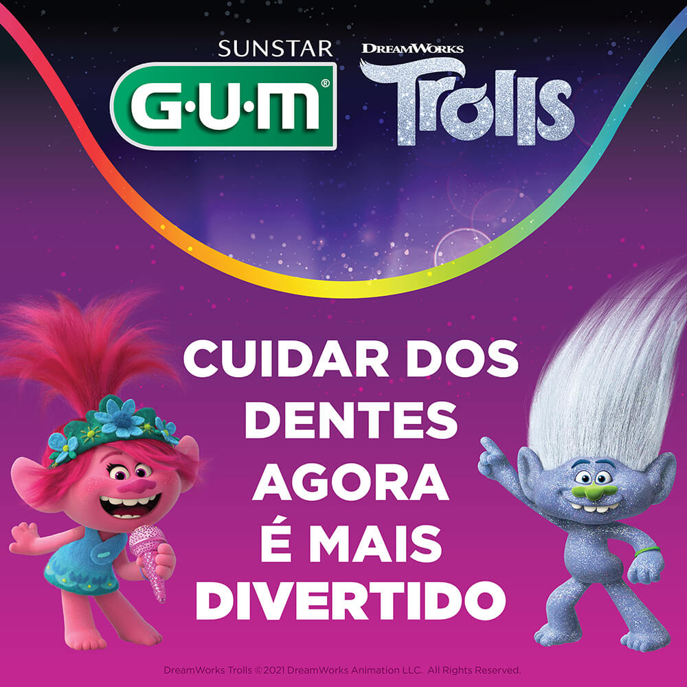 Flossers Trolls   GUM® Fio Dental Infantil com Cabo   20 unidades