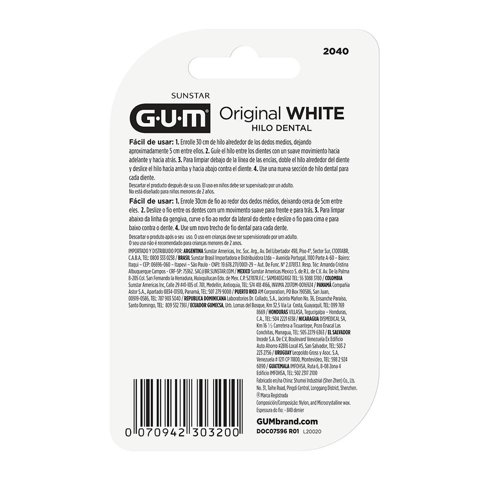 Fio Dental Original White GUM® - 40 mts