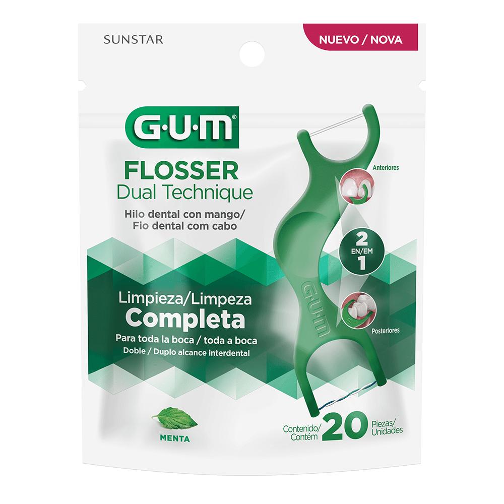Flosser Dual Technique 2 em 1  GUM® Fio Dental Adulto com Cabo   20 unidades