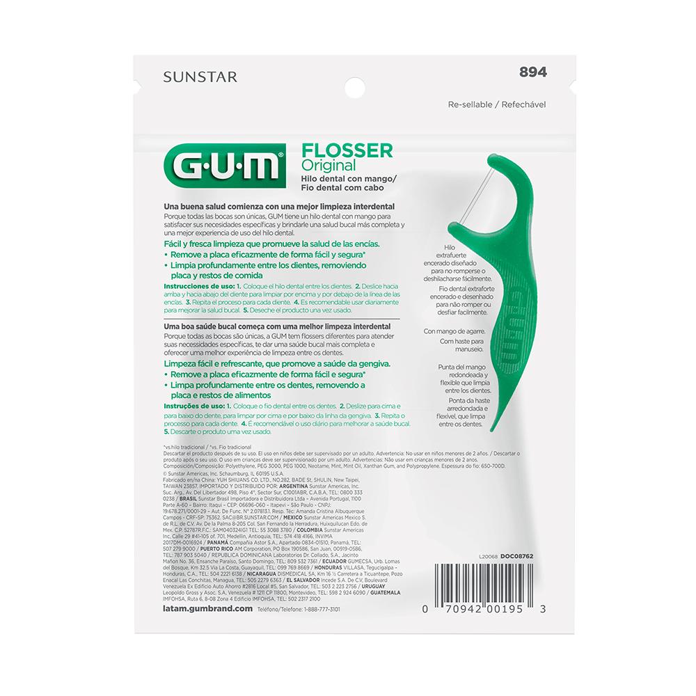 Flosser Original Verde  GUM® Fio Dental Adulto com Cabo   40 unidades