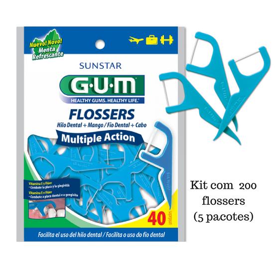 Flosser - Fio Dental com Cabo (GUM) - 5 pacotes ( 200 unidades)