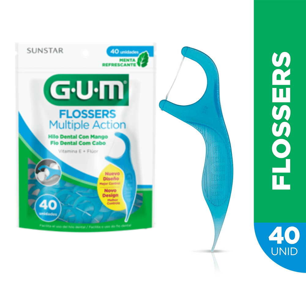 Flosser Multiple Action Azul |GUM®|Fio Dental Adulto com Cabo | 40 unidades