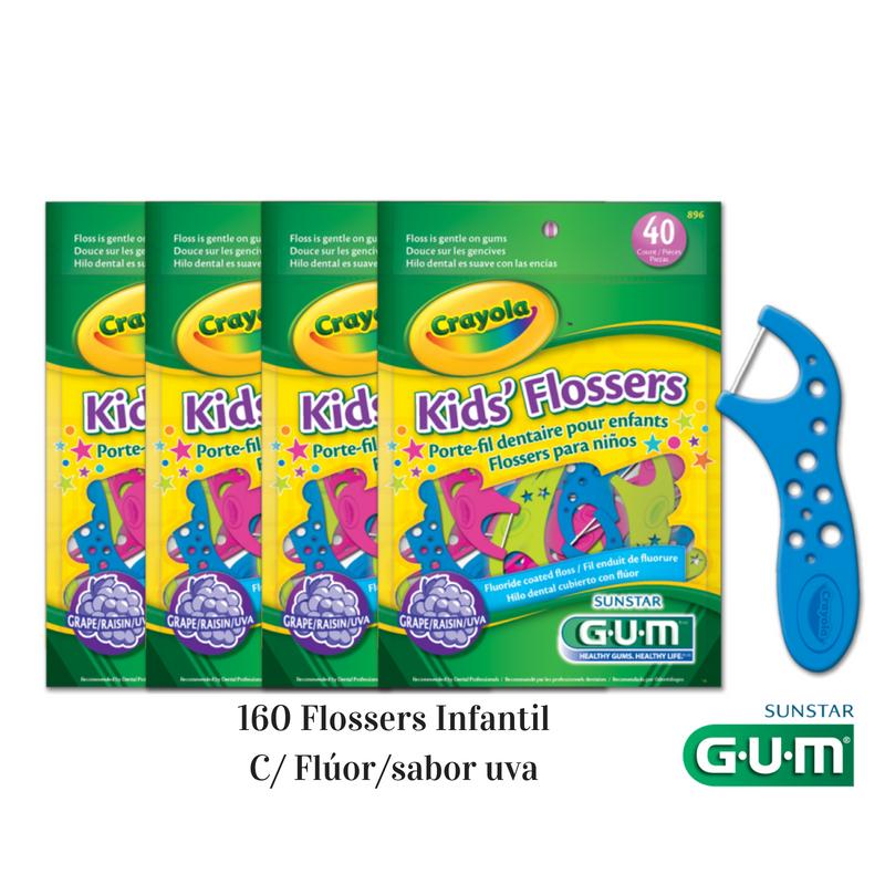 Flosser Infantil com Cabo Crayola (GUM) 4 Pacotes - 160 un