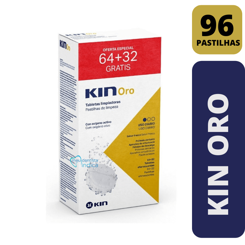 KIN ORO Pastilhas + 1 KIN ORO Escova   96 pastilhas   Limpeza de Prótese e Aparelhos