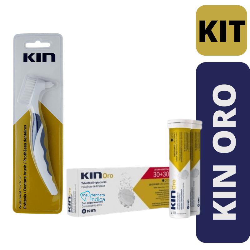 Kin Oro Pastilhas + Escova Para Limpeza de Prótese