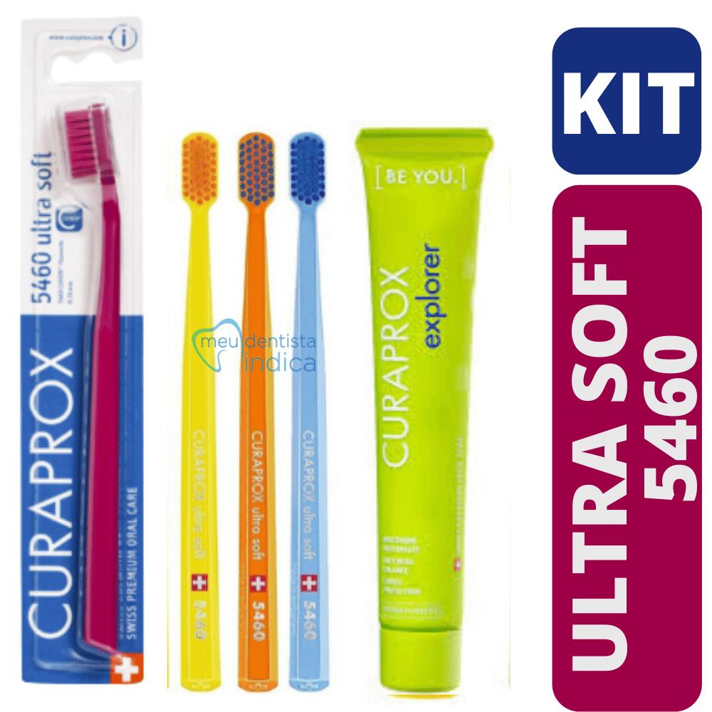 Kit 4 Escovas Curaprox 5460 + Creme Dental BE YOU Explorer 90g