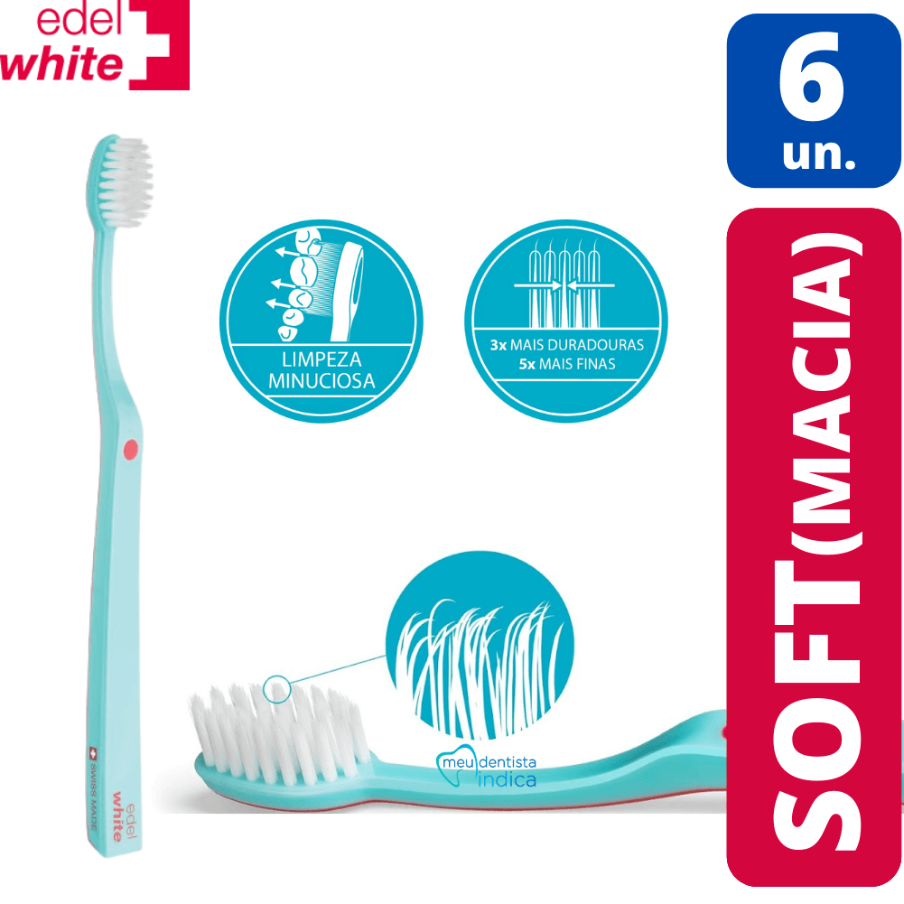 KIT - 6x Escova Dental Edel White Soft
