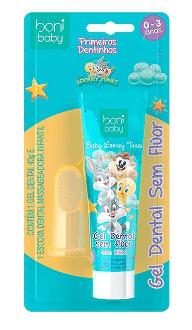 Kit Baby Boni Looney Tunes - (Escova Massageadora + gel 40g)