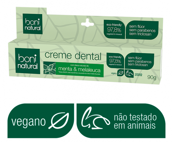 Kit Boni Natural - 4 Cremes Dentais (90g) Natural Sem Flúor