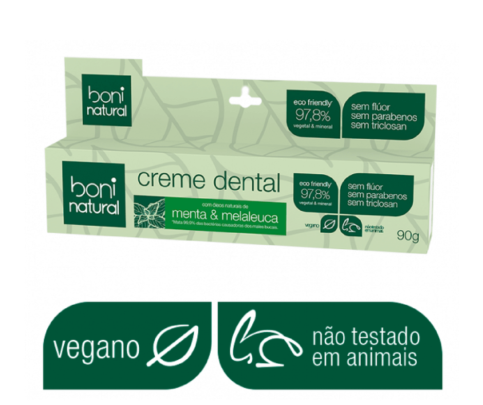 Kit Boni Natural - Enxaguatório + 3 Creme dentais Sem Flúor