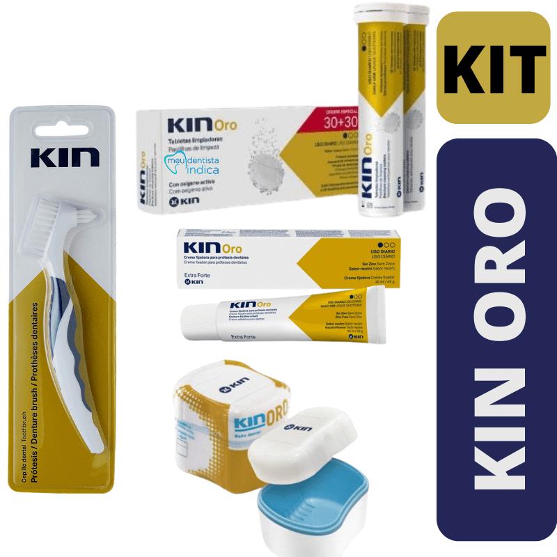 Kit Completo KIN ORO - Creme Fixador + Pastilha + Escova + Estojo
