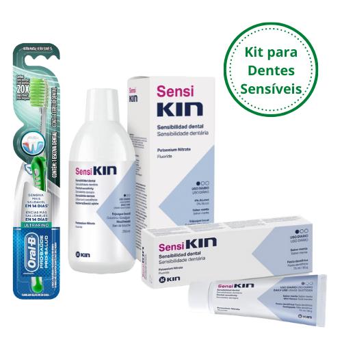 KIT Cuidados para Dentes Sensíveis (Enxague + Creme Dental + Escova OralB)