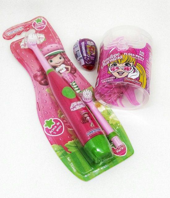 Kit Escova Elétrica Infantil + Fio Dental com Cabo Infantil
