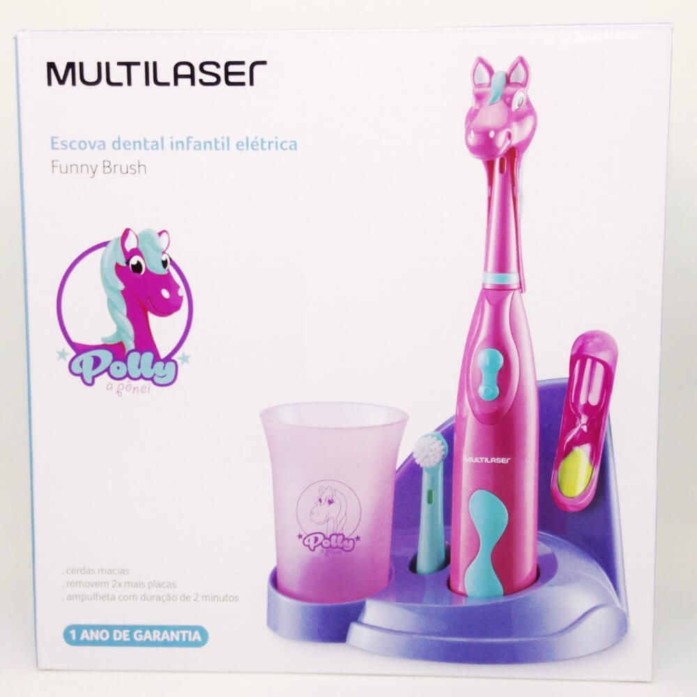 Kit Escova Elétrica Infantil Rosa - Funny Brush