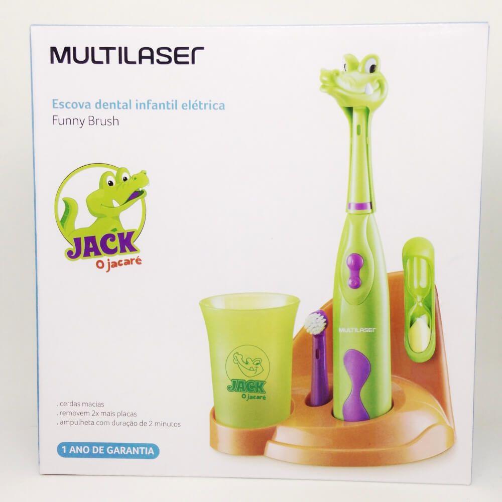 Kit Escova Elétrica Infantil Verde - Funny Brush