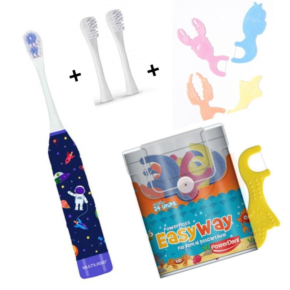 Escova Elétrica Infantil Astronauta + 2 Refil + Fio Dental Com cabo