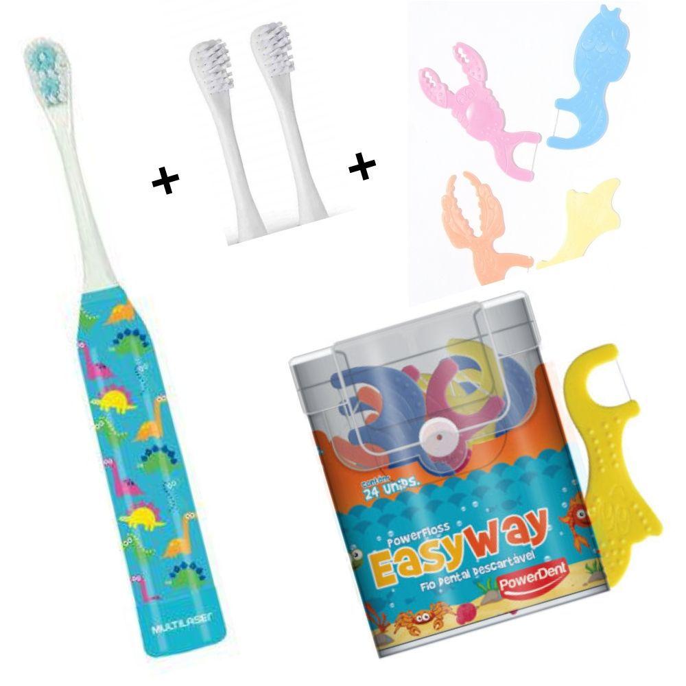 Kit Escova Infantil Dinossauro + Refil + Fio Dental Com cabo