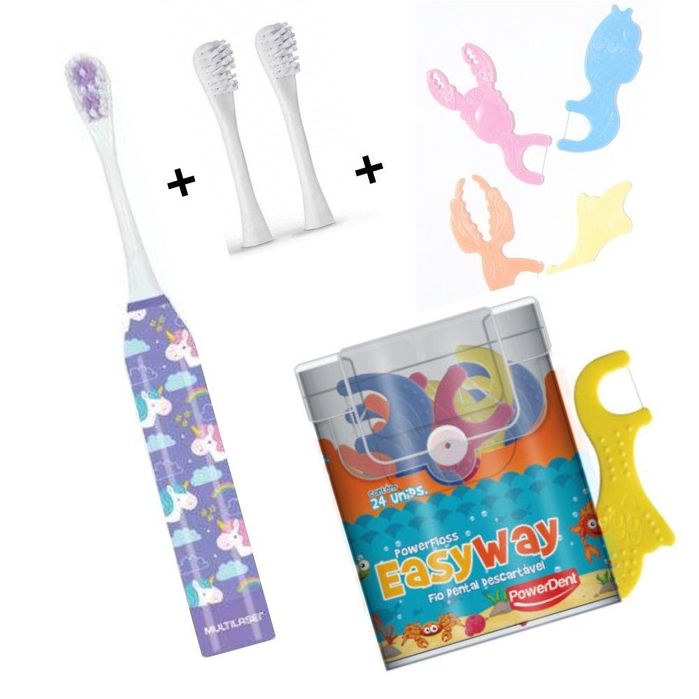Kit Escova Infantil Unicórnio + Refil + Fio Dental Com cabo