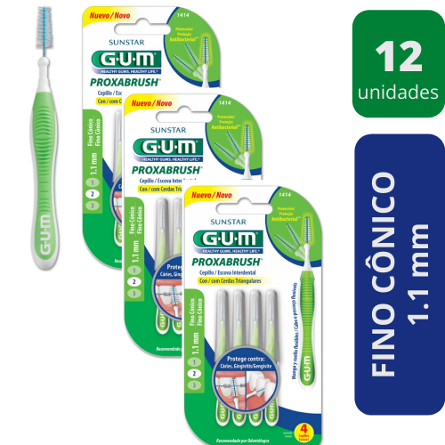 KIT Escova Interdental Média Verde GUM - 12 unidades
