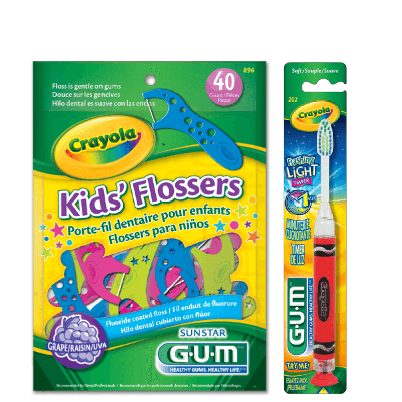 Kit Infantil  Crayola (40 flossers + 1 escova dental com LED) GUM